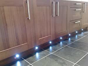 SET OF 10 WATERPROOF LED BLUE DECK LIGHTS / DECKING / PLINTH / KITCHEN LIGHTING SET