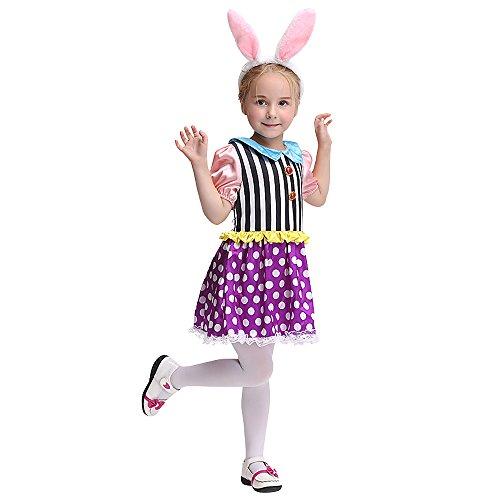 Nettes kleines Kaninchen Halloween Kostüm Kinder Festival Performance Kostüm Party Cosplay Kleider Outfit (Nette Make-up Ideen Für Kinder)