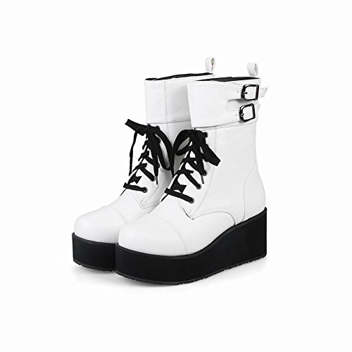 MissSaSa Donna Scarpe col Tacco Zeppa Flatform Punk Stivali Bianco