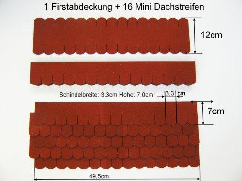 "Mini Dachschindeln Biberschwanz Set klein 49,5cmx7cm Rot ""58"""