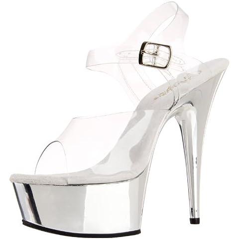 Pleaser - Del608/C/M, Sandali da (6 Sexy Silver Shoe)