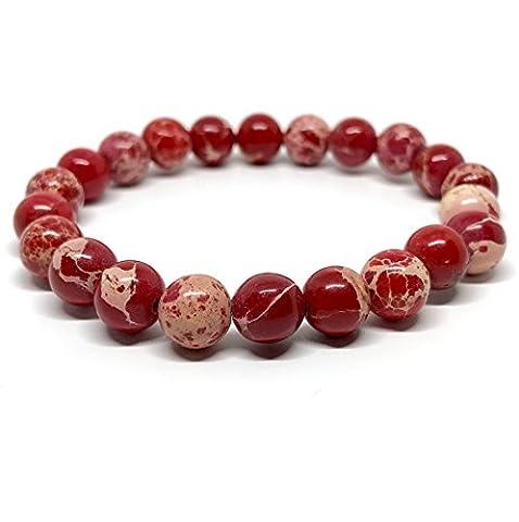 GOOD.designs Chakra Bead Bracelet made of natural Jasper stones (Red)