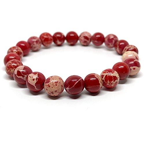 GOOD.designs Chakra-Bracelet Jade en pierre semi-précieuse perles de 8 mm. Pierre Jaspe (rouge)
