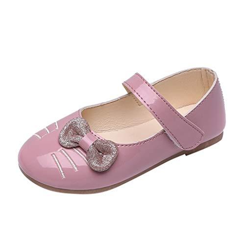 Mädchen Krabbelschuhe Prinzessin Kostüm Katze-Cartoon-Bowknot Schuhe Kleine Casual Slipper Hochzeit Ballerinas/Dorical Babyschuhe Taufschuhe Schuhe Festliche Party Schuhe 25-36 EU(Rosa,33 EU)