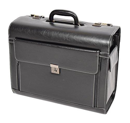 Geschäft Laptop Pilotenkoffer Hand Tragen Schwarz Lederoptik Arzt Rep-Tasche HLG2193 (Tasche Schwarz Arzt)