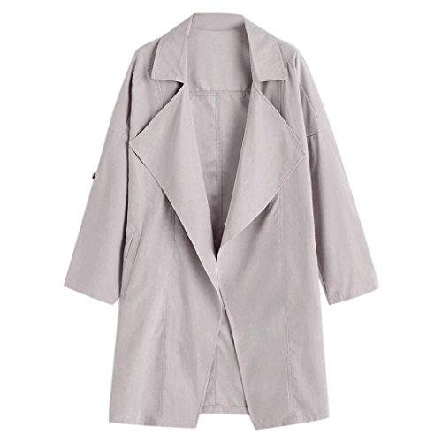 VEMOW Heißer Verkauf Herbst Winter Damen Frauen Lose Langarm Solide Mantel Casual Täglich Im Freien Lose Oberteile Jacke Windjacke Parka Outwear(Grau, EU-48/CN-XL)