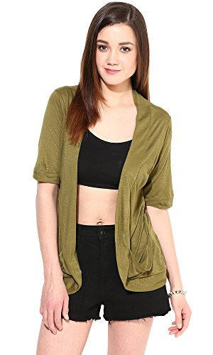 Trend18 Viscose Military Pocket Long shrug - Military X-Small  available at amazon for Rs.199