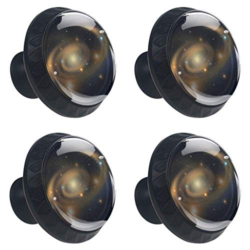 4 Pieces Set Cabinets Hardware Round Furniture Knobs Galaxy Star Print,Drawer Dresser Cupboard Wardrobe Pulls Handles for Home Kitchen -