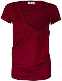 HAPPY MAMA Mujer Camiseta premamá y de Lactancia Cuello Doble Capa. 790p