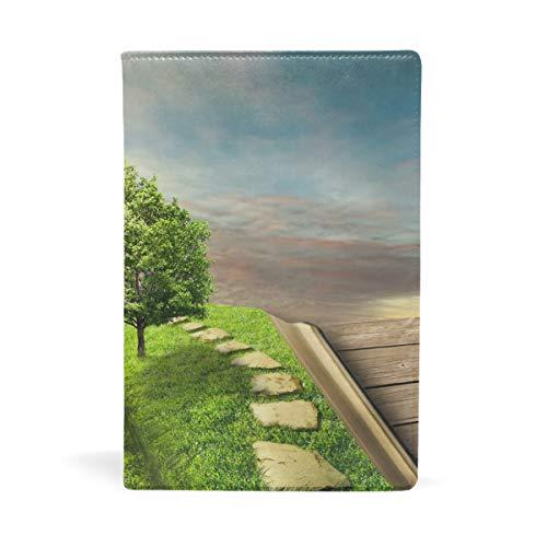 EZIOLY Book of Life dehnbarer Buchumschlag passend für die meisten Hardcover-Lehrbücher bis 22,6 x 14,5 cm, klebstofffreier Stoff Schulbuchschutz Einfach anzubringen. Wash & Re-Use