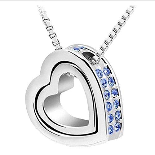 Metall Jewelled Strass doppelte Herz-Halsketten -Anhänger KOSTENLOSER Organza-Geschenk-Beutel - (BLAU CRYSTAL) (Choker Strümpfe)