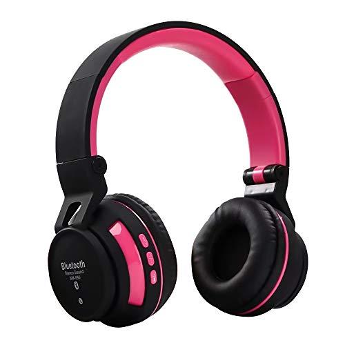 Auricolare bluetooth wireless qoosea auricolare stereo pieghevole wireless e cablato con microfono fm sd/tf integrato per iphone/wiko/samsung/ipad/pc rosa