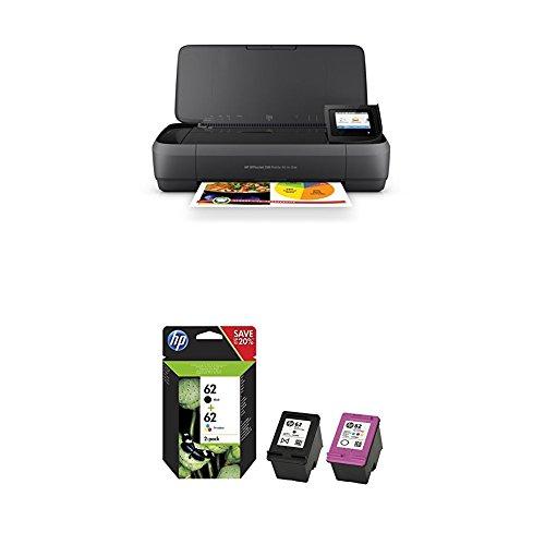 HP Officejet 250 mobiler Multifunktionsdrucker + HP 62 Multipack Original Drucker patronen, schwarz