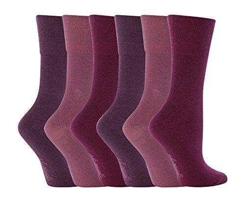 Gentle Grip - 6 Paar Damen Gesundheitssocken Ohne Gummi Diabetiker Druckfreie Handgekettelt Baumwollanteil Socken 37-42 EUR (GG15) (Unverbindliche Baumwolle Aus Socken)
