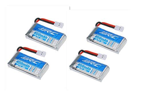 3,7V 400mAh Lipo Akku Batterie (4St) für Hubsan x4 107c 107d 107l JJRC H31 RC Quadcopter Drohne + 4 in 1 Batterien Ladegeräte - 4