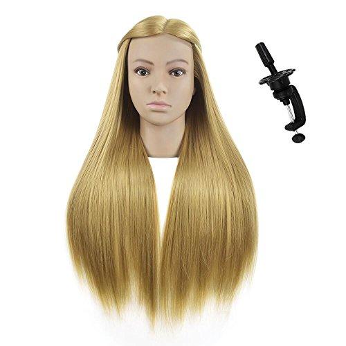 71 cm, Cabezal de entrenamiento de pelo sintético profesional para peluquería, cabeza de muñeca con abrazadera de mesa.