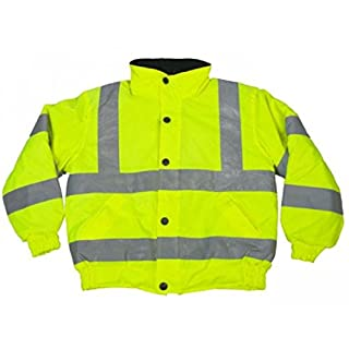 Child Yellow Hi Visibility Water Proof Bomber Jacket with Hood (Small Medium or Large)