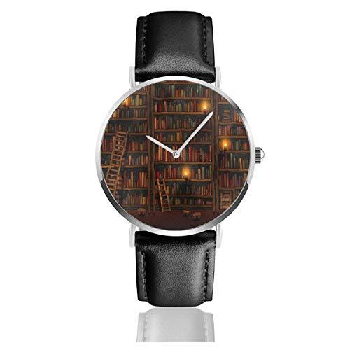 Bücherregal Vintage Quarzuhr Edelstahl Klassisch Casual Lederband Uhren