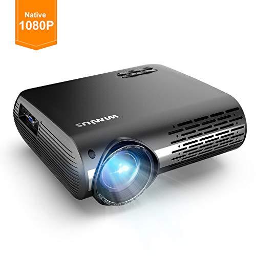 Videoproiettore,wimius 4500 lumen nativa 1080p led proiettore full hd con 300'' display supporto 4k correzione trapezoidale elettronica ± 50 °proiettore per smartphone, p