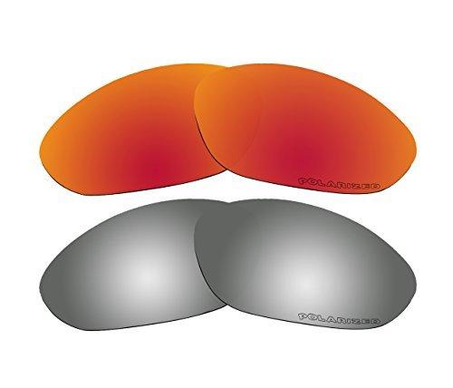 BVANQ polarisierte Ersatzgläser für Oakley XX/Old Twenty XX (2000) Sonnenbrillen, Rot und Schwarz verspiegelt, 2 Paar