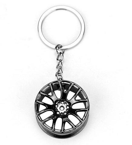 Preisvergleich Produktbild Chrom Tuner Alu Felgen Schlüsselanhänger glänzend 3 Farben (Schwarz)
