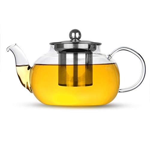 Glass Tea Infuser | Stainless Steel Loose Leaf Teapot Filter | Heat Resistant Tea & Coffee Strainer | Single Cup Tea Pot | M&W (800ml)