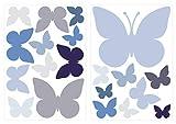 dekodino Sticker mural pastel papillons en bleu et gris 20 pièces décoration