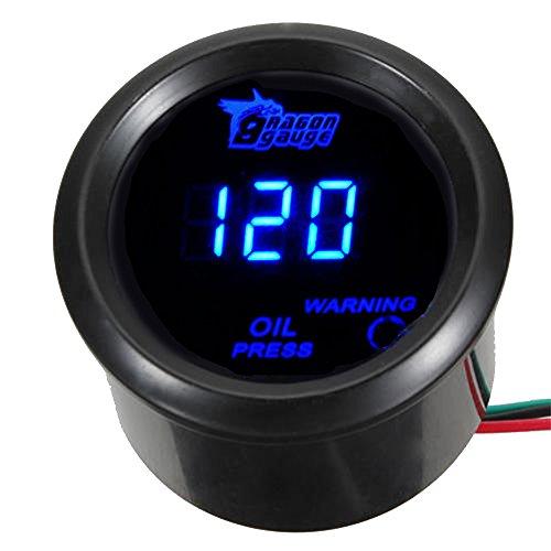 Mintice 12V Auto 2' 52mm Universale Digitale led blu leggero Pressione dell'olio Manometro Calibro di auto