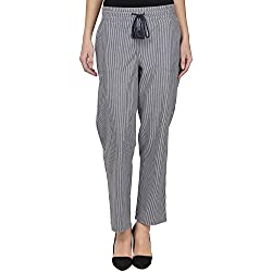 Eves Pret A Porter Grey & White Striped Casual Pants for Women