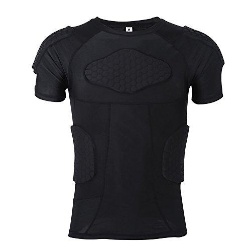 VGEBY Protektorenshirt Schutzweste Shorts Gepolstert Sportanzug für Fußball Basketball Paintball Kampfsport Rugby(T-Shirt M)