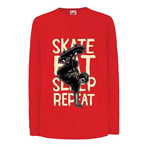 Kinder-T-Shirt mit Langen Ärmeln Eat-Sleep-Skate-Repeat Fro Skateboard Liebhaber, Skateboarder Geschenke, Skateboarden Kleidung (7-8 Years Rot Mehrfarben) (Metall-skate-rampe)
