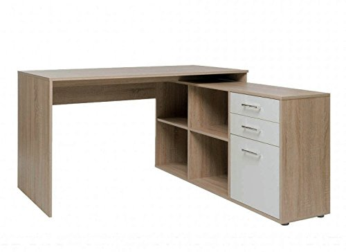 Avanti trendstore - leon - scrivania ad angolo con 2 cassetti, 1 porta a battente e 4 vani aperti, in quercia sonoma / bianco d'imitazione. dimensioni lap 136x75x138 cm