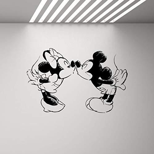 qwerdf Wandaufkleber Mickey Maus Minnie Ratte Küsst Wand Decal Kinder-Schlafzimmer Hochzeit Cartoon Vinyl-Wand-Sticker 89 * 57cm