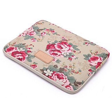 Fen Sleeve für MacBook 33 cm MacBook Air 27,9 cm/33 cm MacBook Pro 33 cm/38,1 cm MacBook Pro 33 cm/38,1 cm mit Retina Display Blume Leinwand Material Big Red Flower khaki khaki macbook pro 15""