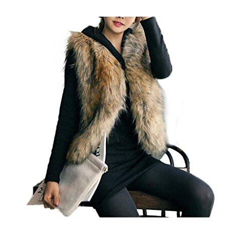 Koly_Le donne della maglia cappotto senza maniche capelli lunghi Giacca Gilet (S)