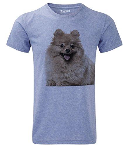Siviwonder Unisex T-Shirt POMERANIAN Zwegspitz Spitz Hunde Blue Marl
