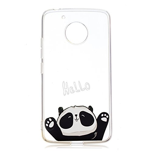 Felfy Kompatibel mit Moto G5 Hülle Case Silikon Transparent mit Blume Panda Eule Muster Handyhülle Ultra Dünn Slim Klar Durchsichtig Flexibel Gel TPU Schale Kratzfest Anti-Scratch Cover -