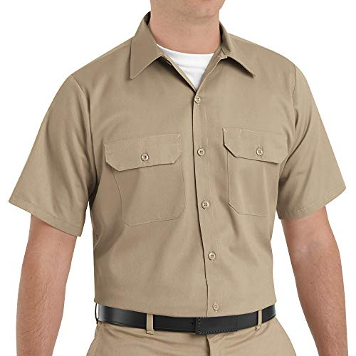 Red Kap Men's Short Sleeve Utility Uniform Shirt Khaki Small - 2 Pack -