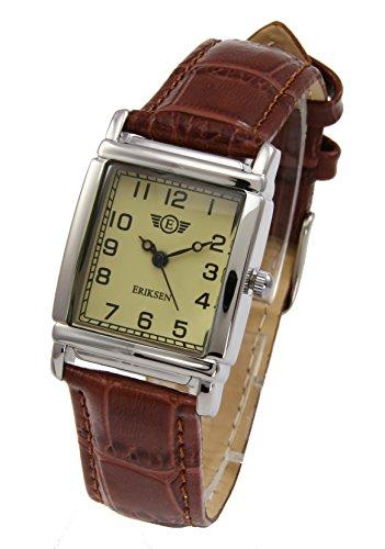 Eriksen Damen Classic Silvertone rechteckig QUARZ Kleid Uhr mit Analog-Anzeige und braunem Lederband LS