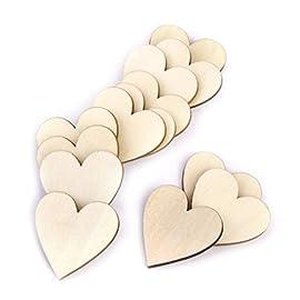 PIXNOR Dischi di legno fette a forma di cuore per matrimonio mestieri centrotavola Pack di 80 colore di legno