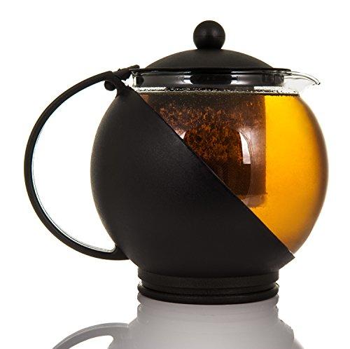 Théière en verre ronde avec panier infuseur, idéal pour feuilles de thé en vrac, contenance 1,25 L