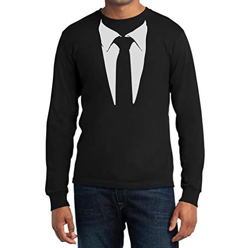Gedruckter Anzug/Legendäre Stinson Krawatte Barney - Tuxedo Kostüm Party Langarm Schwarz X-Large T-Shirt (Barney Aus Kostüme)