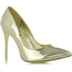 High Heels Stiletto Pumps Abendschuhe Metallic Lack-Optik Glanz Damenschuhe EUR 38 Gold