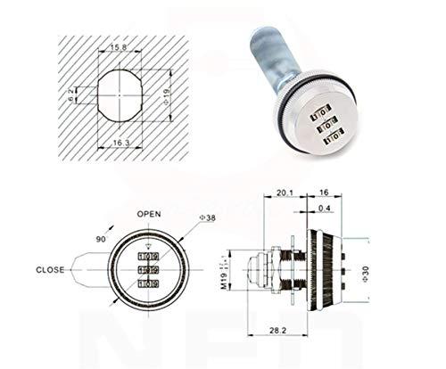 Liuer 3 Zahlen Digital für Schrank Schrank Schublade Briefkasten Code Zahlenschloss,ohne Schluessel,Schloss Schrank Mechanische Verriegelung Passwort Code,1pcs(Silber) - 3