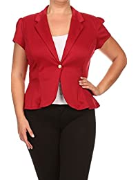 2LUV Women's Plus Size Short Sleeve Blazer With Button Closure