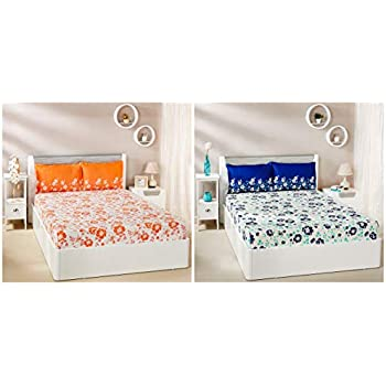 Amazon Brand - Solimo Jasmine Zest 144 TC 100% Cotton Double Bedsheet with 2 Pillow Covers, Peach and Jasmine Zest 144 TC 100% Cotton Double Bedsheet with 2 Pillow Covers, Blue Combo