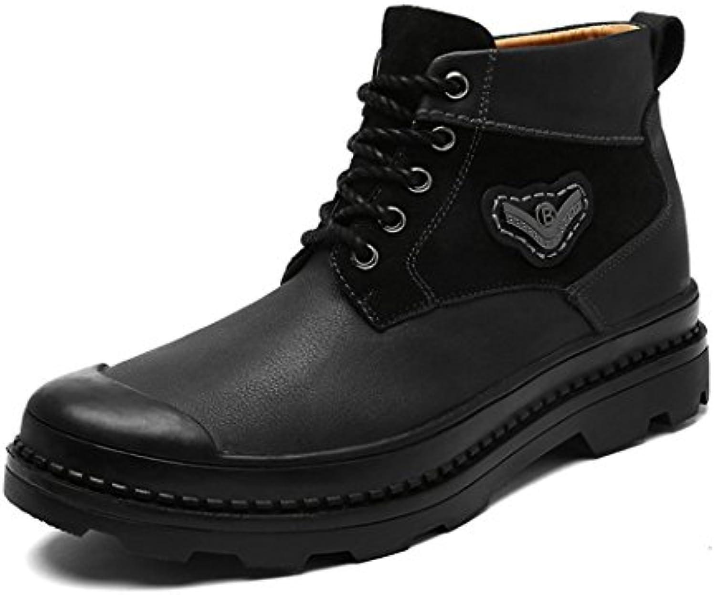 ZQ@QXModische Leder  Freizeit  warme Stiefel  hohe Herren stiefel  Martin Stiefel