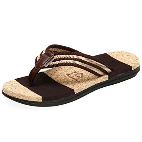 CHENGYANG Herren Damen Unisex Zehentrenner Mode Flip Flops Schuhe Sandalen Slipper Pantoletten Braun#Herren