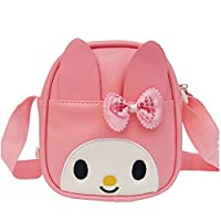 Uniui Cute Bunny Small Handbag Fashion Bow Knot Pu Leather Shoulder Bag Waterproof Field Bag - Ideal Gift for Age 0-14 Kids Girls (Pink)