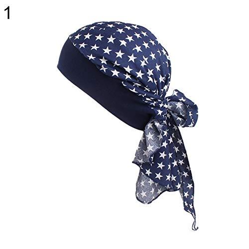 Goodtimes28 Damen Turban-Mütze mit Blumenmuster, Stretch, Kopftuch, Bandana